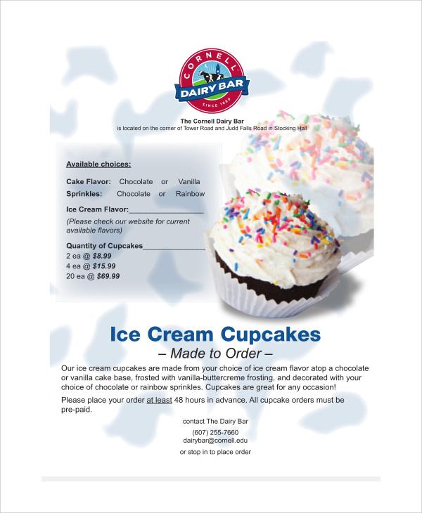 icecream cupcake order form