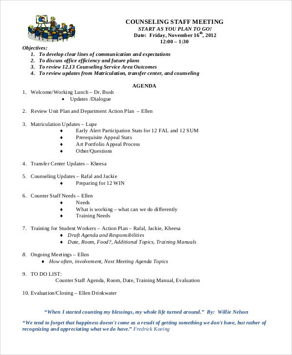 counseling staff meeting agenda1