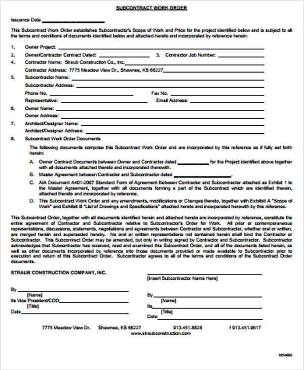sub contract work order form pdf