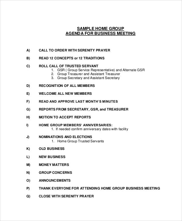 home group business meeting agenda