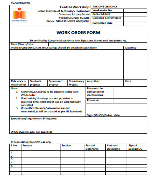 Sample Work Order Form   Free Sample Example Format
