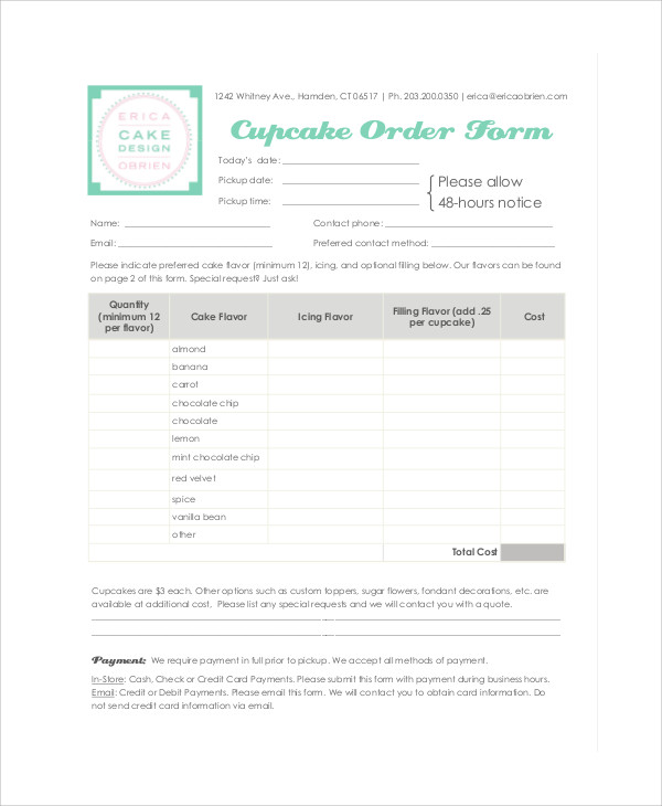 Sample Cupcake Order Form - 9+ Examples In Word, Pdf