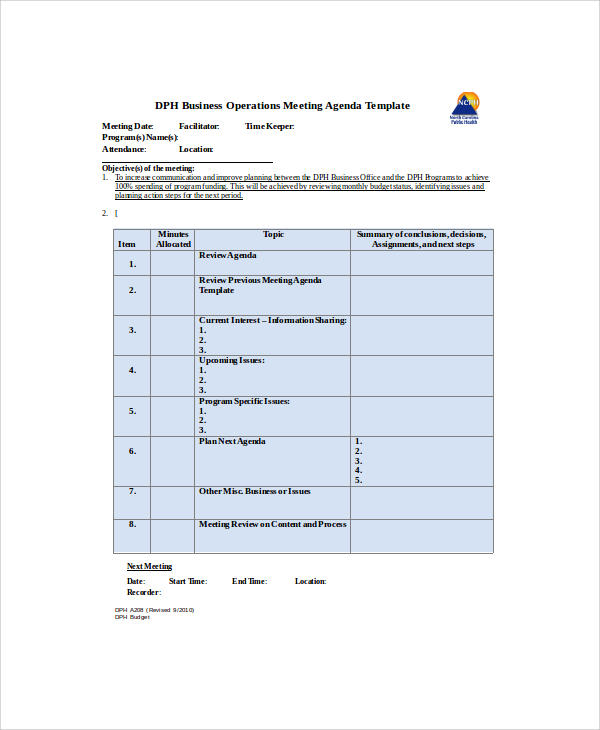 business operations meeting agenda