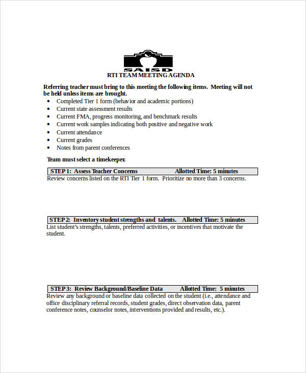 team meeting agenda sample in word