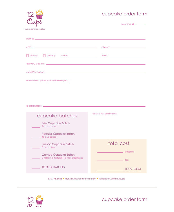 blank cupcake order form