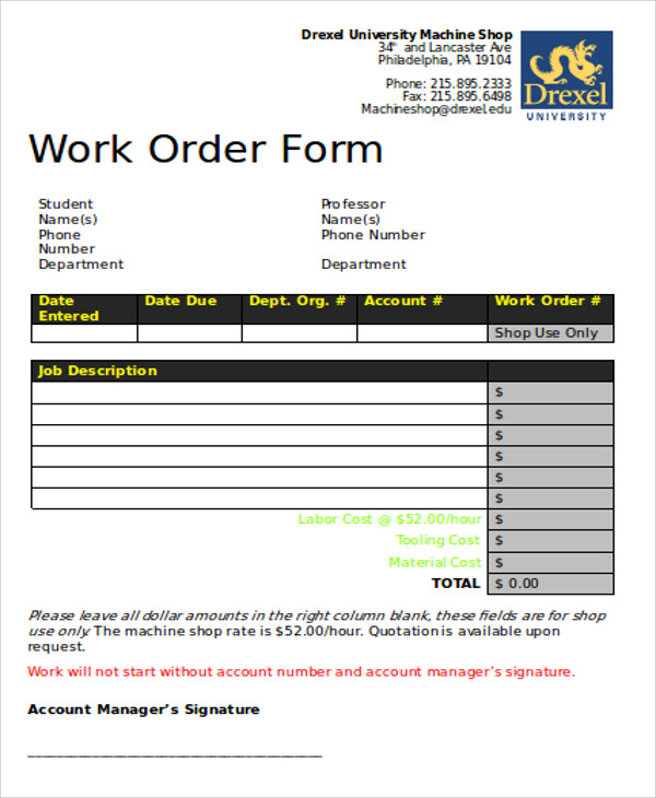 Free Sample Work Order Form   Examples In Word Pdf