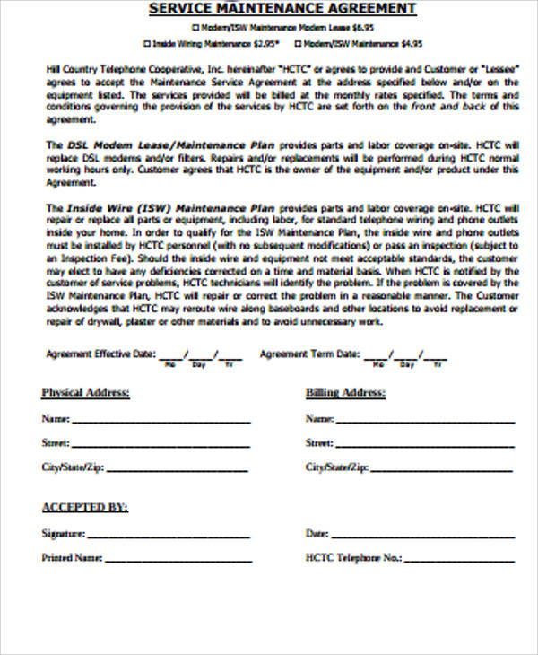 Sample Service Agreement  Free Sample Example Format Download