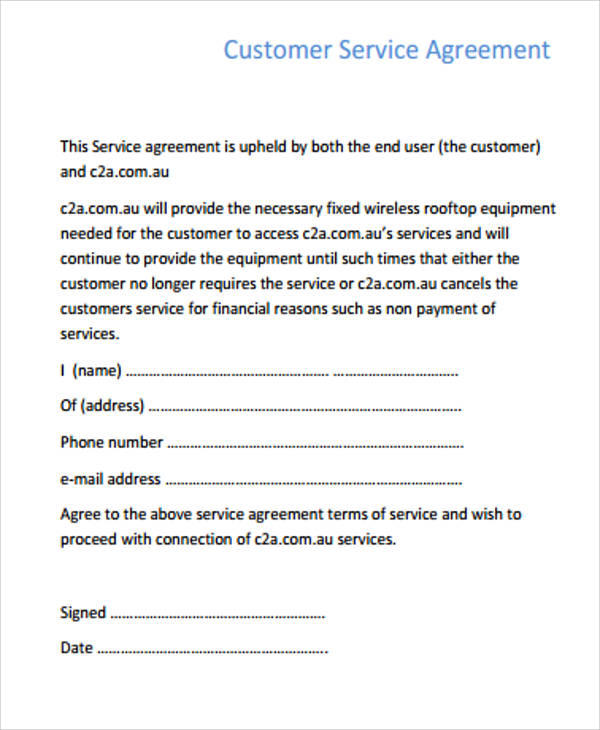 customer service agreement