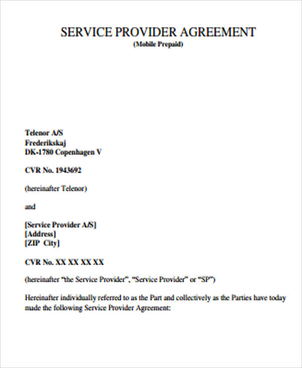 service provider agreement