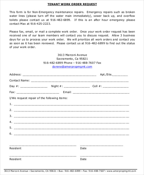 Free Sample Work Order Forms Sample Templates - Tenant work order form template