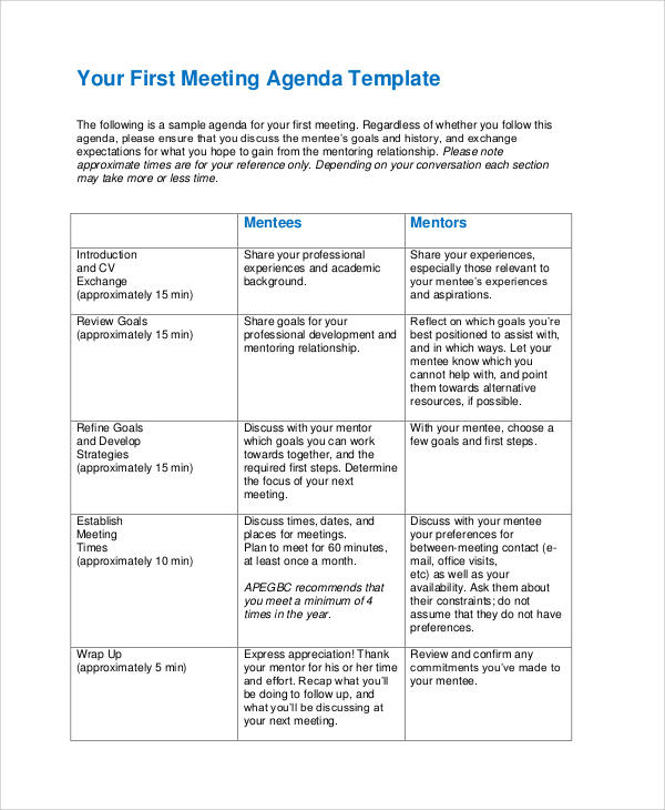 first meeting agenda template