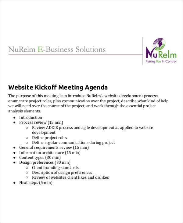 website kickoff meeting agenda