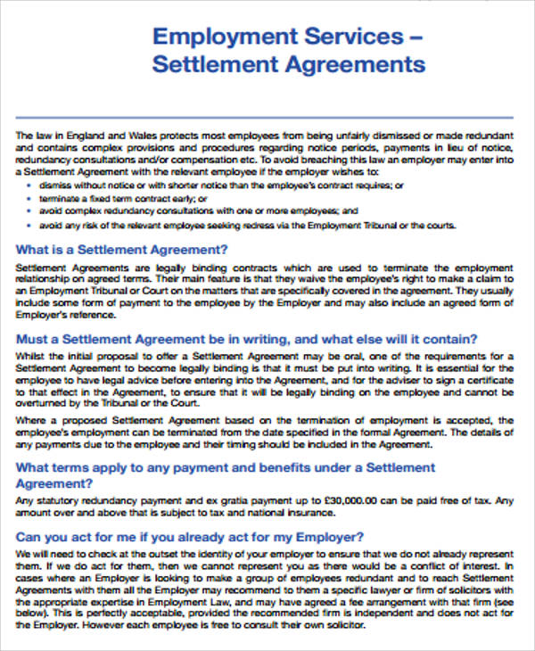 employment services settlement agreement