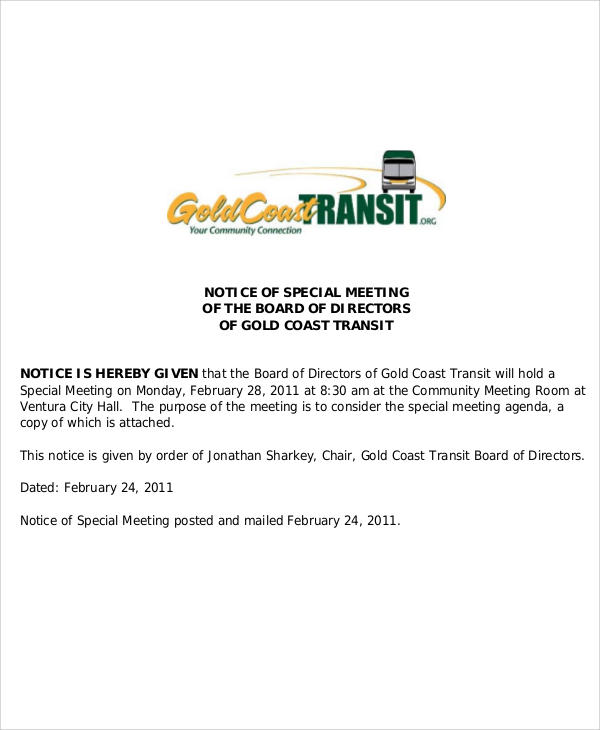 special meeting agenda notice