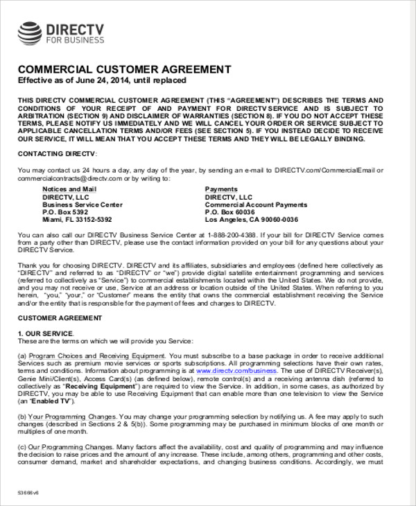 commercial business agreement