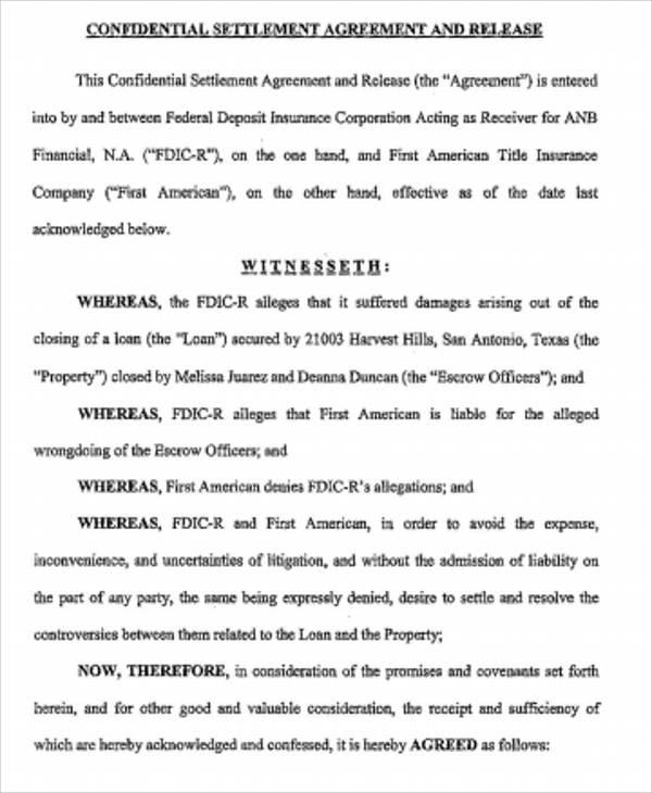 settlement confidentiality agreement