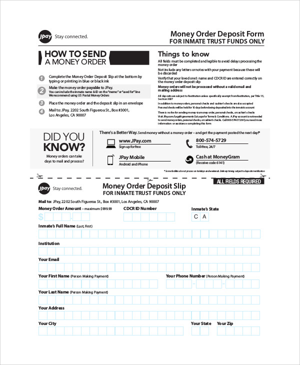 11 sample money order forms sample templates - Can you cash cheques at the post office ...