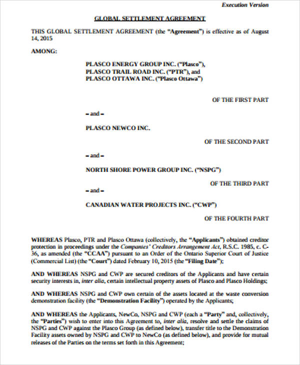 10 Sample Settlement Agreements Sample Templates
