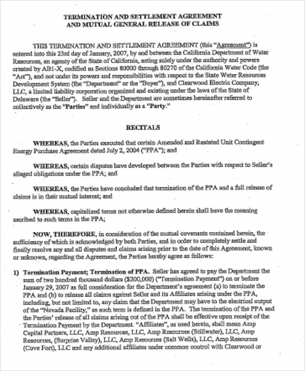 10 Sample Settlement Agreements Sample Templates