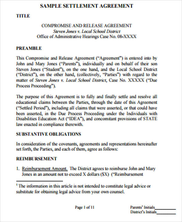 Sample Settlement Agreement  Free Sample Example Format