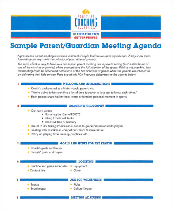 sample parent guardian meeting agenda