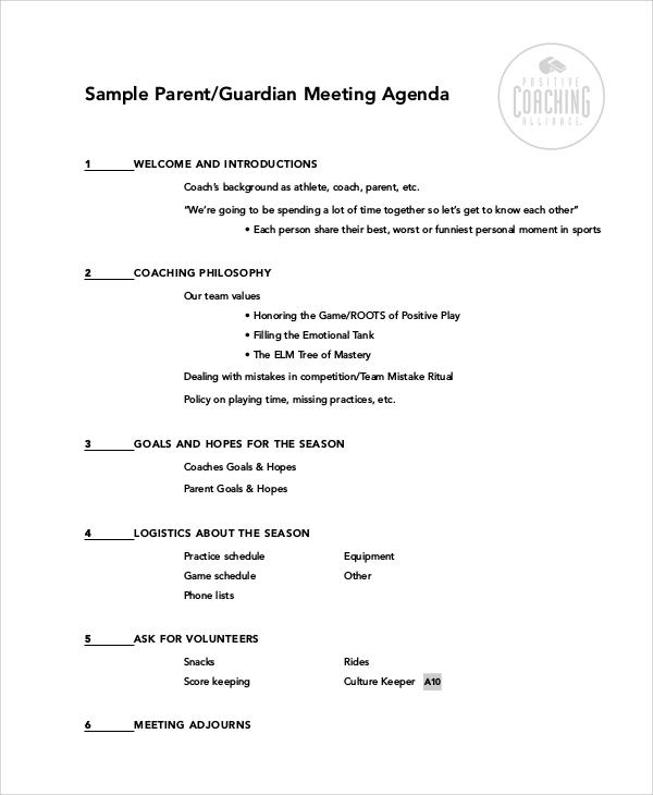 parent guardian meeting agenda for coach