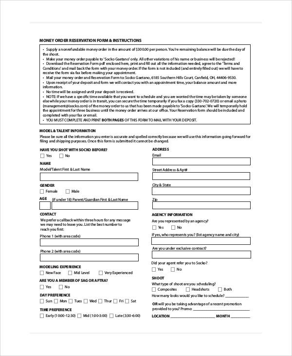 money order reservation form