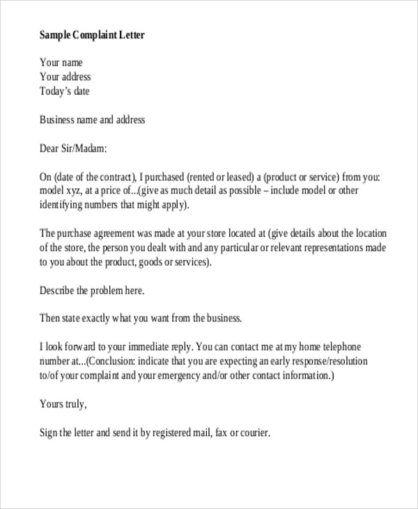 7 sample business complaint letters sample templates for Formal letter of complaint to employer template