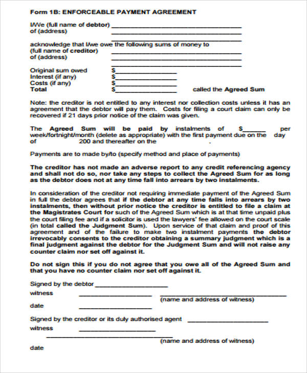 Sample Payment Agreement  Free Sample Example Format Download