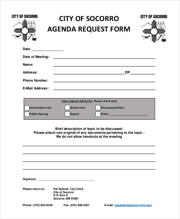 council agenda request form
