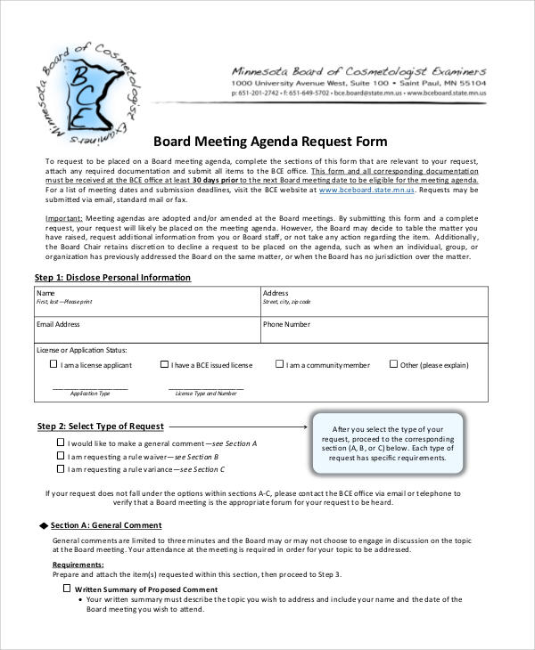 board meeting agenda request form