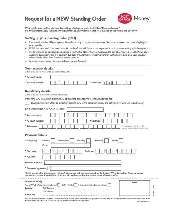 money order form  Sample Money Order Form - 9+ Examples in Word, PDF