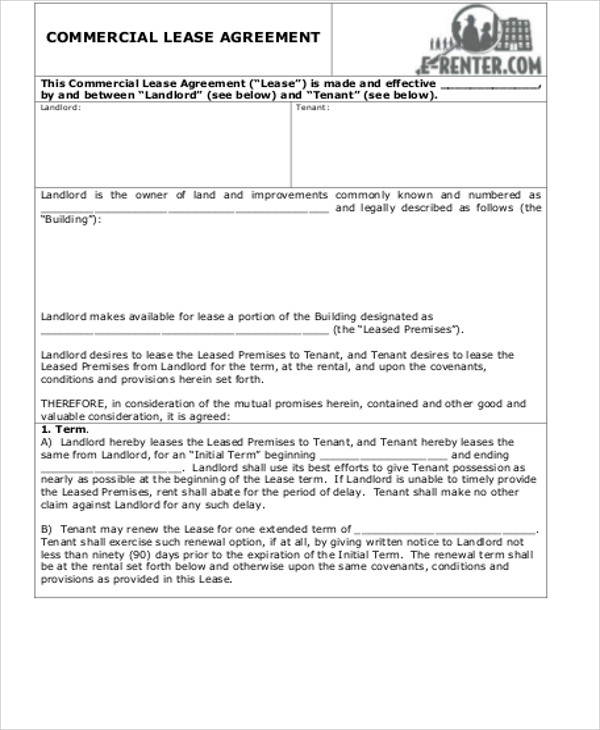 Commercial Lease Agreement Example  TvsputnikTk
