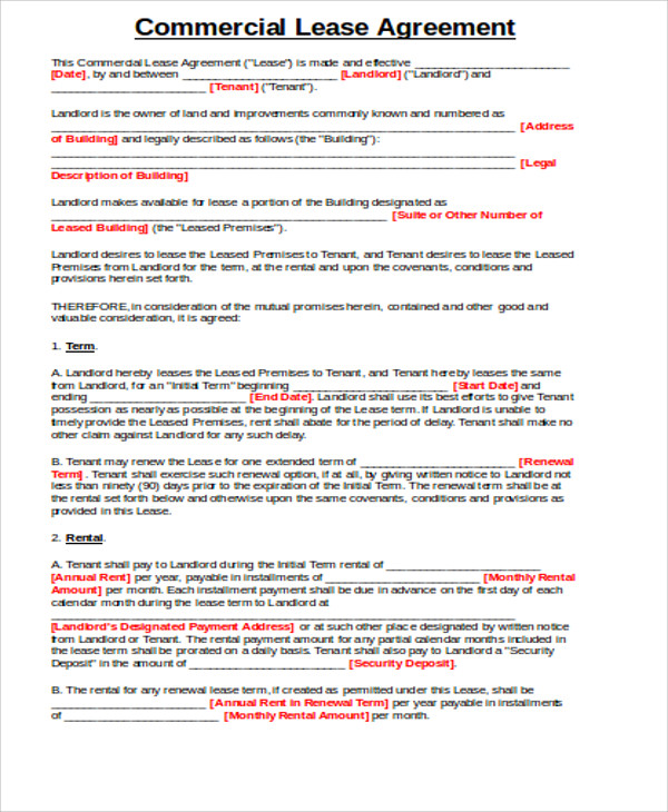 get this template 20 lease agreement templates word excel pdf formats commercial lease form