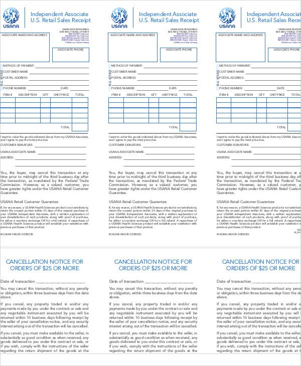 retail sales receipt form
