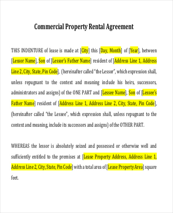 Simple Commercial Lease Agreement 8 Examples in Word PDF – Lease Agreement Example