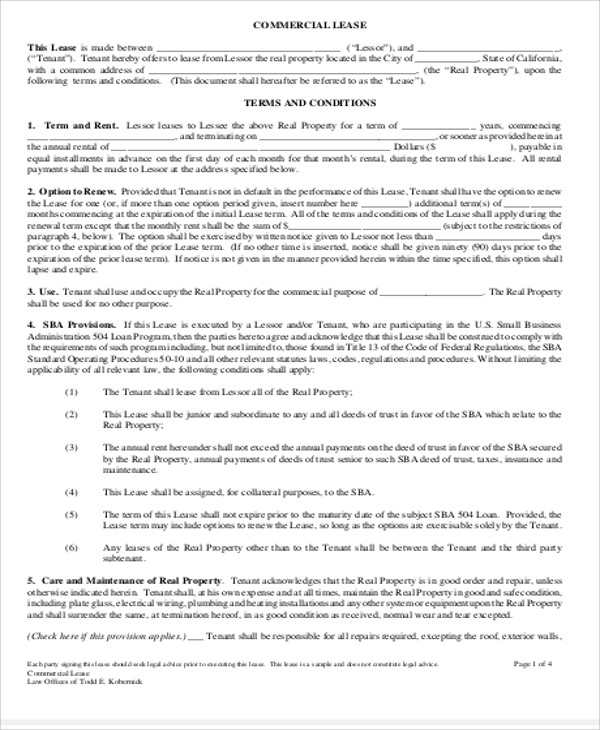 Simple Commercial Lease Agreement 8 Examples in Word PDF – Simple Commercial Lease Agreement Template
