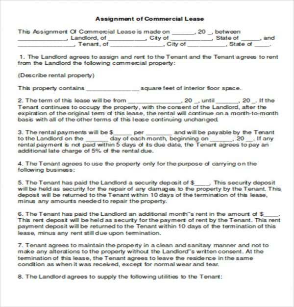 Simple Commercial Lease Agreement   Examples In Word Pdf