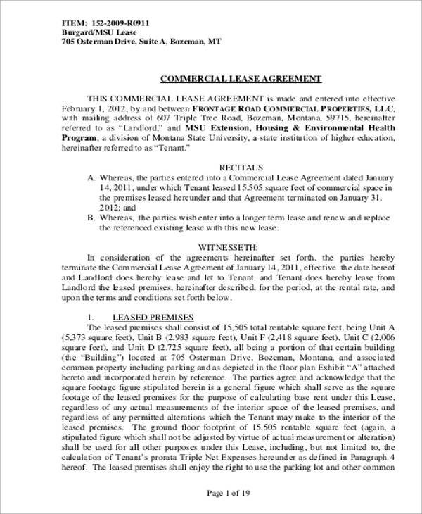 Property Lease Agreement Sample AgreementTemplatePrintableWord – Sample Commercial Lease Agreement Template