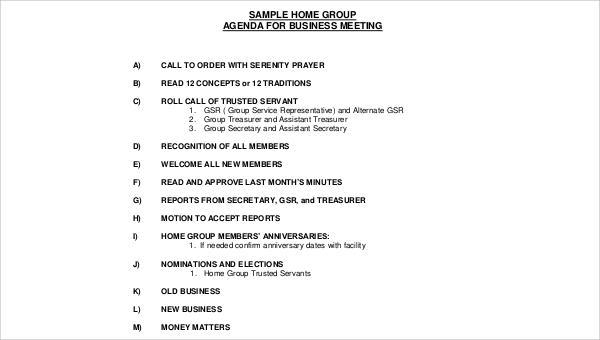 30  meeting agenda samples