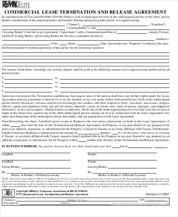 10 Commercial Lease Agreement Sample Free Sample Example – Commercial Lease Termination Agreement