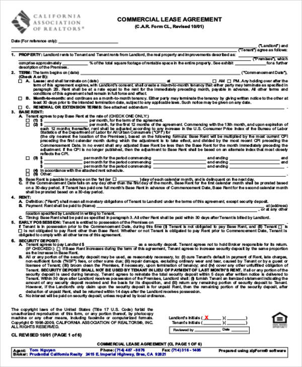commercial land lease agreement example