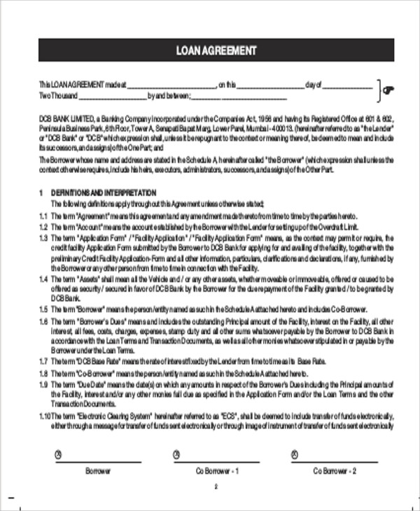 Sample Commercial Loan Agreement - 10+ Examples In Word, Pdf