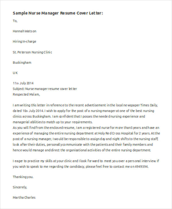 nurse manager cover letter sample - Sample Nurse Manager Cover Letter