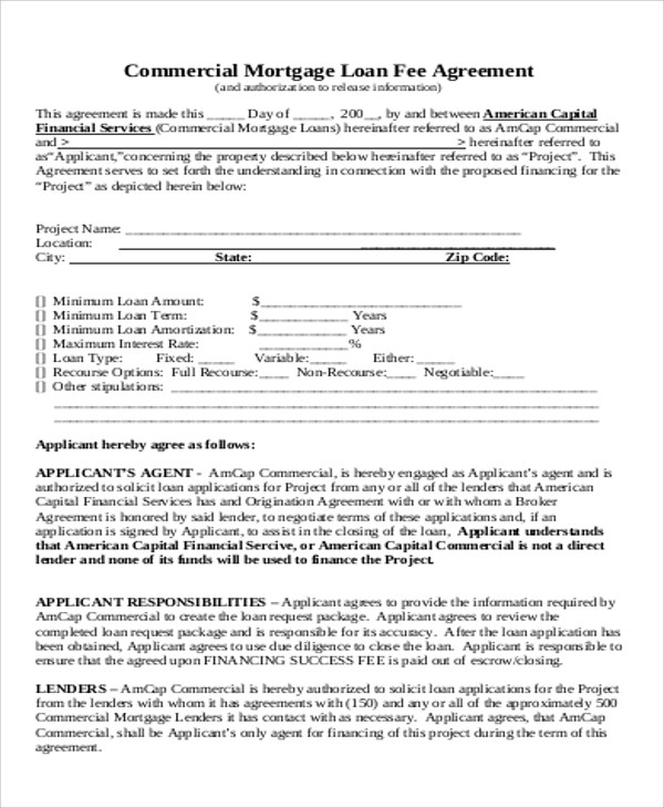 commercial loan fee agreement free