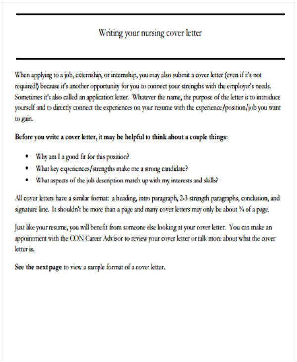 Nursing Cover Letter  Examples In Word Pdf