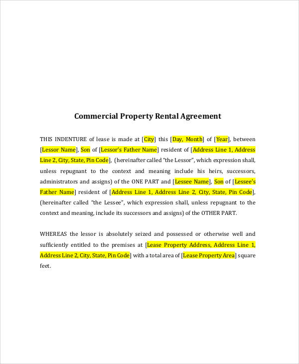 commercial rental property lease agreement