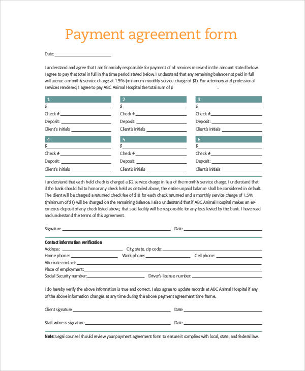 36 Sample Agreement Forms Sample Templates