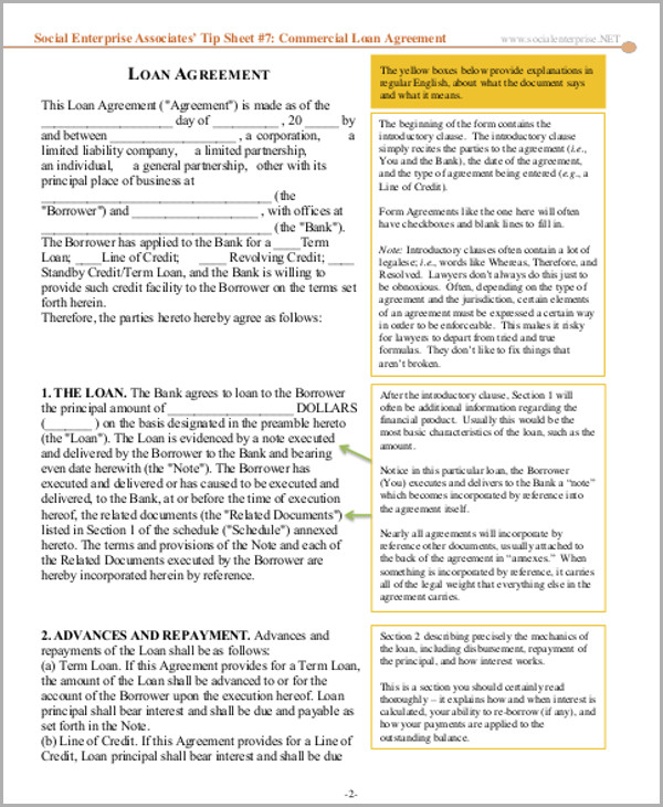 commercial bank loan agreement example