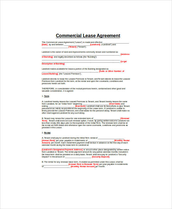 generic commercial property lease agreement